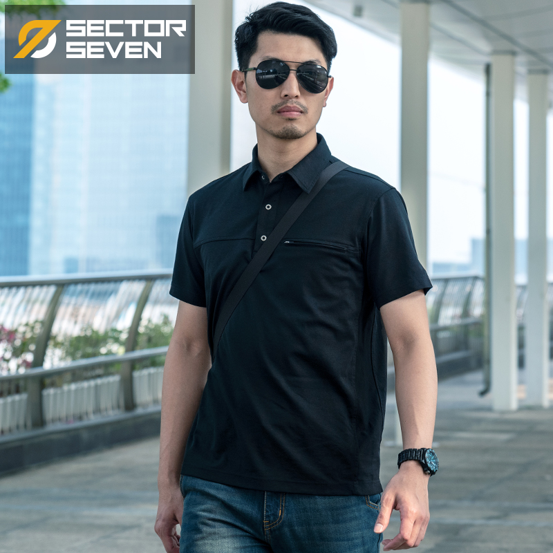 Sector Seven Men's Casual Short Sleeve   Polo   Shirt Fashion Solid Anti-Wrinkle   Polos