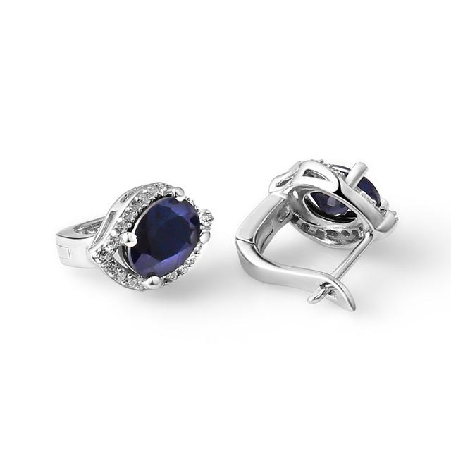 Gem's Ballet 3.26C Natural Blue Sapphire Gemstone Vintage Stud Earrings 925 Sterling Silver Fine Jewelry For Women Drop Shipping