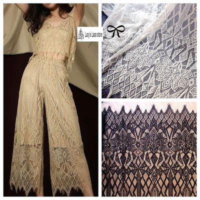 2018 July latest eyelash lace fabric Off white/Black 1.5x3 meters=1 Piece! Delicate small cording french lace for girls clothing