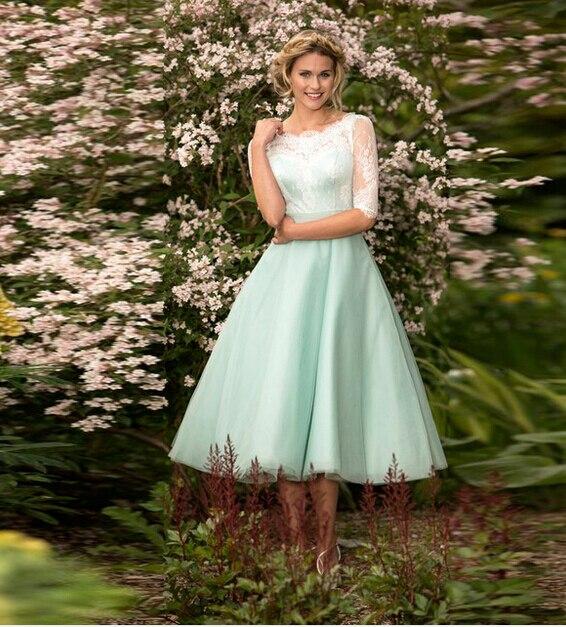 ec8db3607 2016 Modest Girls Junior Bridesmaid Dresses Tea-Length Short Sheer Half  Sleeve Scoop Neckline Lace