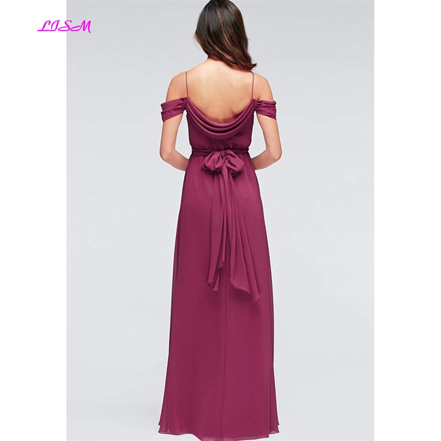 Off shoulder Ruffles Side Split Chiffon Bridesmaid Dress Empire Sash Party Dresses Long Dress for Wedding Party dress free ship in Bridesmaid Dresses from Weddings Events