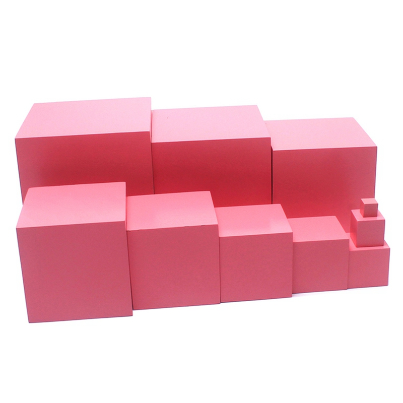 Dental house Montessori Materials Wooden Toys Pink Tower 1 10CM Pink Cubes Solid Beech Wood Toddler
