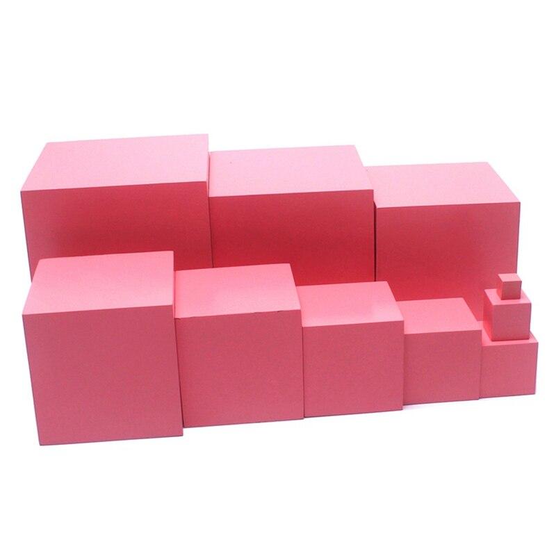 Maison dentaire Montessori matériaux jouets en bois tour rose 1-10 CM Cubes roses en bois de hêtre massif enfant en bas âge préscolaire éducatif