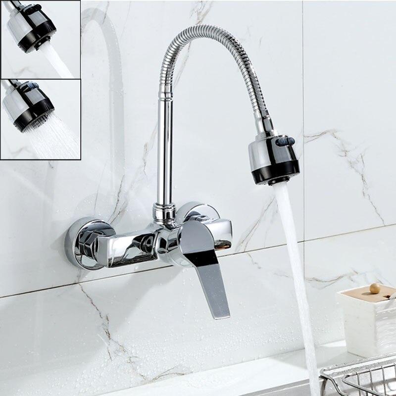 ФОТО Wall Mounted Dual Sprayer Kitchen Faucet Single Handle Chrome Flexible Hose Kitchen Mixer Taps Dual Holes