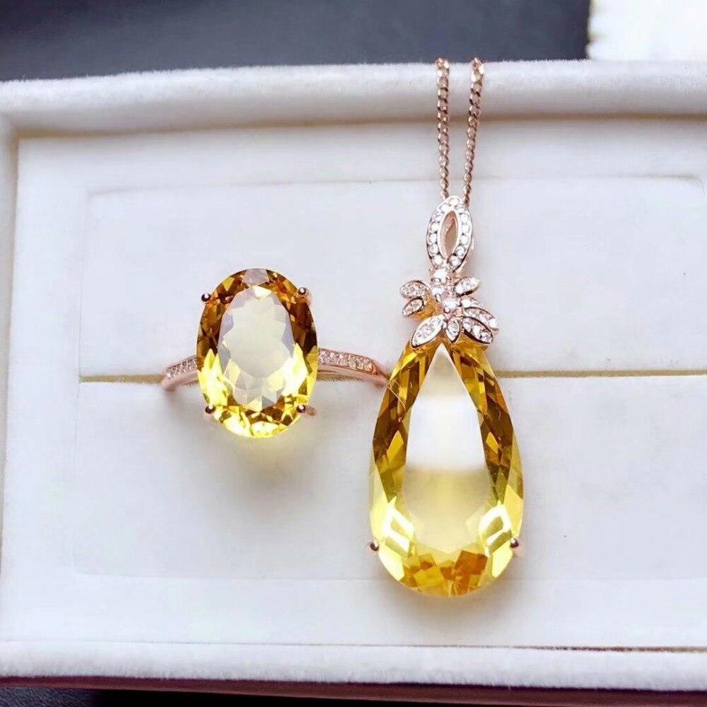 Shilovem 925 argent sterling piézoélectrique citrine anneaux pendentifs envoyer collier bijoux femmes à la mode de mariage mtz10141325agj-in Parures de bijoux from Bijoux et Accessoires    1