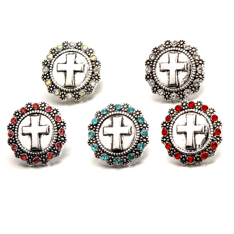 5Colors Rhinestone Cross Metal Snap Buttons Fit DIY 18mm Snap Button Bracelet Jewelry Charms Findings Accessories BT179