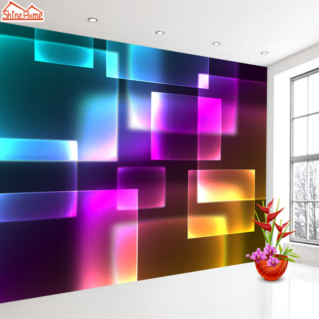Shinehome Abstract Neon Lights Wallpaper For Rooms 3d