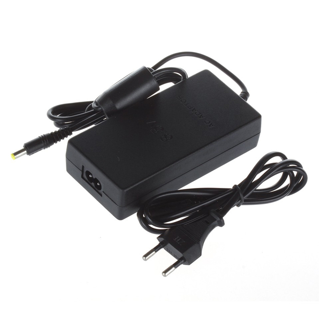 10pcs a lot EU Plug AC  Adapter Charger Cord Cable Supply Power For PS2 Console Slim Black