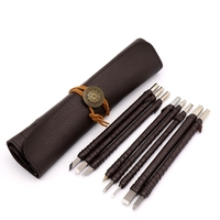 New Hand Tools Tungsten Steel Carving Knife Set Seal Stone Graver Lettering Engraving Tool with Leather Handle+ Leather Bag