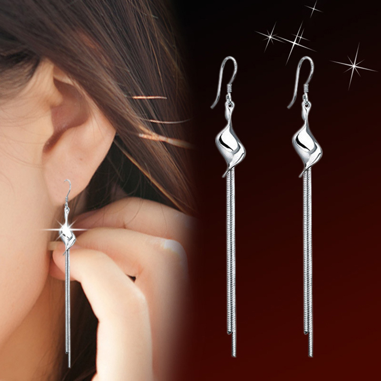 Charming Jewelery Accessories Silver Plated Exaggerated Twisted Tassel Woman Earrings EA ...