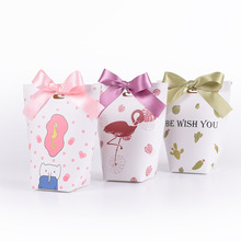 50pcs/lot New Pillow Box Flamingo Lip Merci Ribbon Bow Present Carton Pouch Kraft box Gift DIY Boxes Pouch Wedding Party Supply