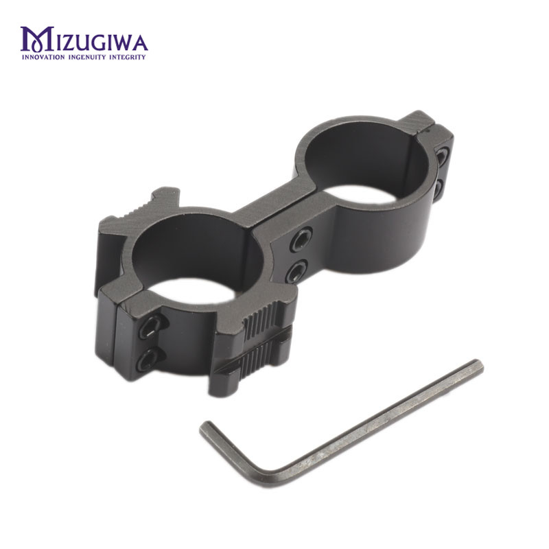 Tactical Universal 25.4mm Dual Barrel Ring Hole Large 8-shaped Mount For Rifle Flashlight Torch Laser With 20mm Side Rail Airgun