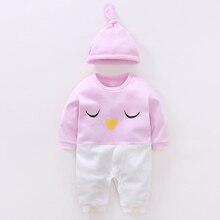 цены на YiErYing Baby Romper Set Spring Autumn 2Pc Long Sleeve Cotton Cute Cartoon Printed Hat+Jumpsuits Leisure Newborn Clothes Suits  в интернет-магазинах