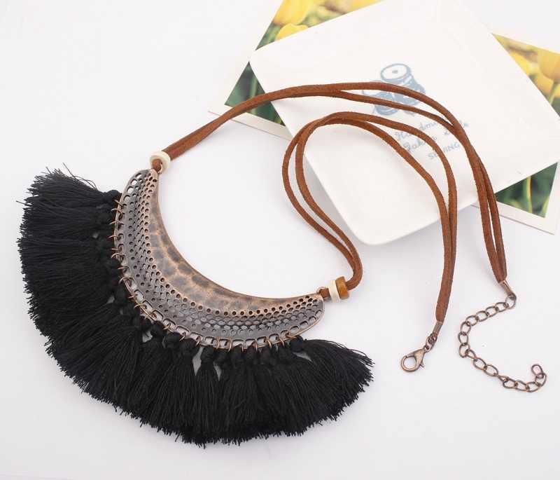 Exknl Brand Pendant Tassel Necklace Women Collar Wholesale Bohemia Moon Fringe Long Vintage Fashion Necklaces 2018 Jewelry