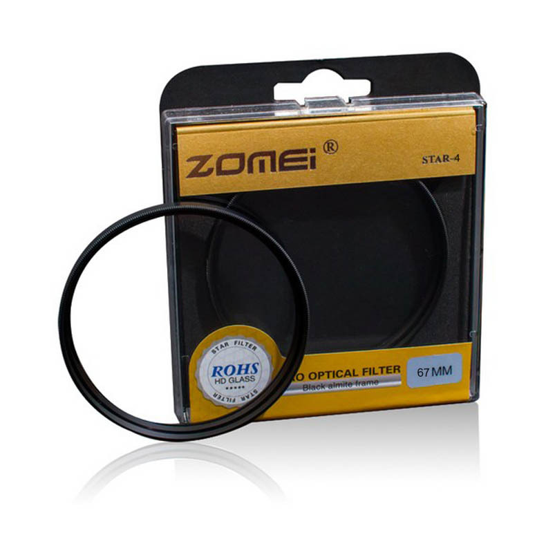 Premium Original Zomei 67mm Professional Star Filter 4 Line Point 4PT for Canon Eos Nikon Sony Pentax Olympus DSLR Camera Lens