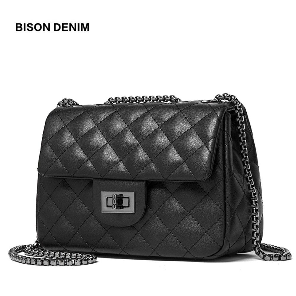 Бизон джинсовые Корова кожа Сумка Для женщин Роскошные сумки через плечо известный бренд Для женщин сумка Diamond решетки сумка N1547