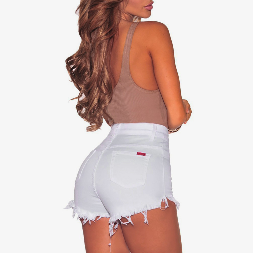 Women Hole Destroyed Ripped High Waist Jeans Denim Shorts Hot   W0319