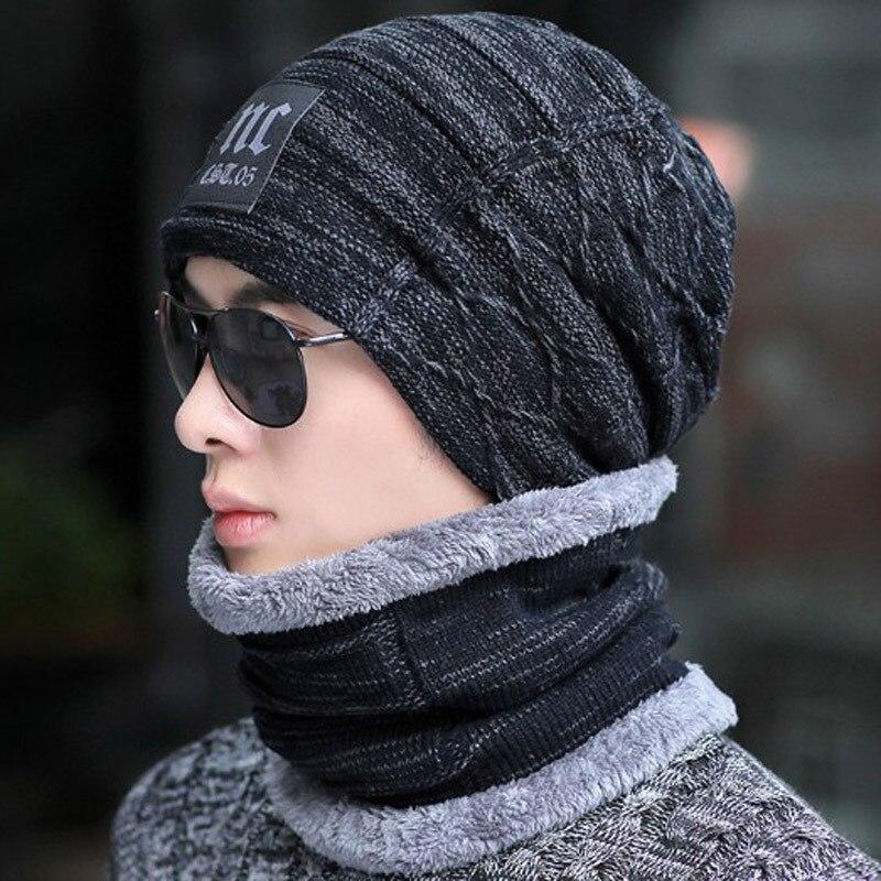 GROUPE SAUT De Mode Femmes Hommes Chapeau D'hiver Beanie Baggy Bonnets Chauds + Foulard 2 pièces Ensemble Unisexe D'hiver Accessoires