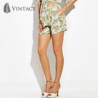 Vintacy 2018 שיפון נשים מכנסיים קצרים חדש אביב הדפסת צמח צהוב רגליים רחבים מכנסי נשים מכנסיים קצרים מכנסיים קצרים מזדמנים כיסי