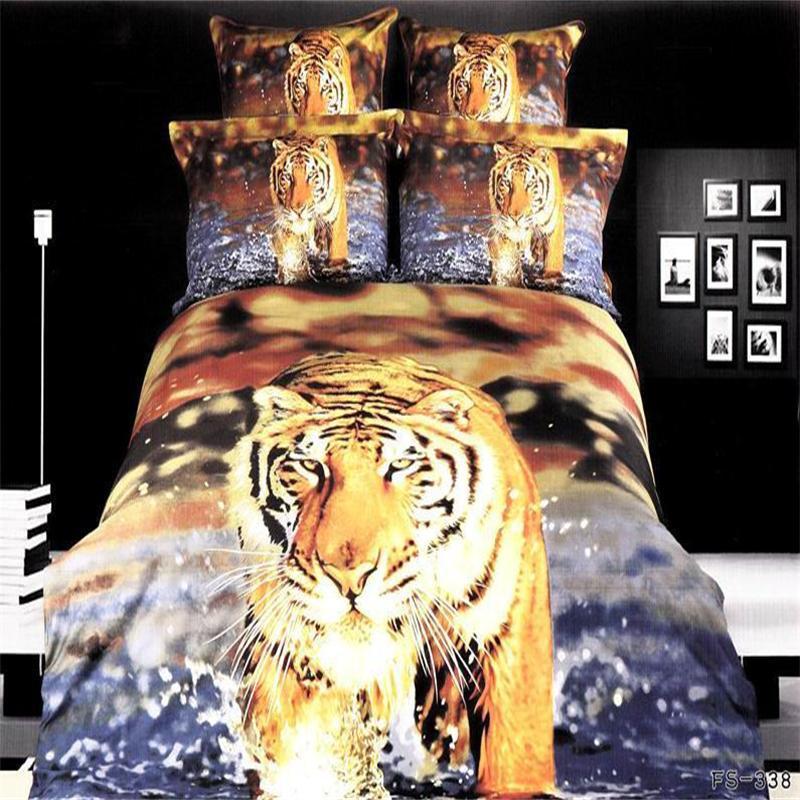 ᐂModa 3D Río Azul impresión del tigre Ropa de cama conjunto