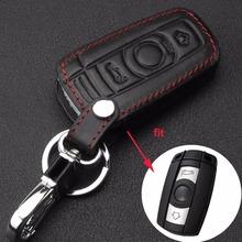 3 przycisk skórzana obudowa kluczyka do samochodu obudowa stylizacyjna dla BMW 1 3 5 6 serii obudowa kluczyka samochodowego ostrze Fob E90 E91 E92 E60 uchwyt na tanie tanio Bilchave Górna Warstwa Skóry