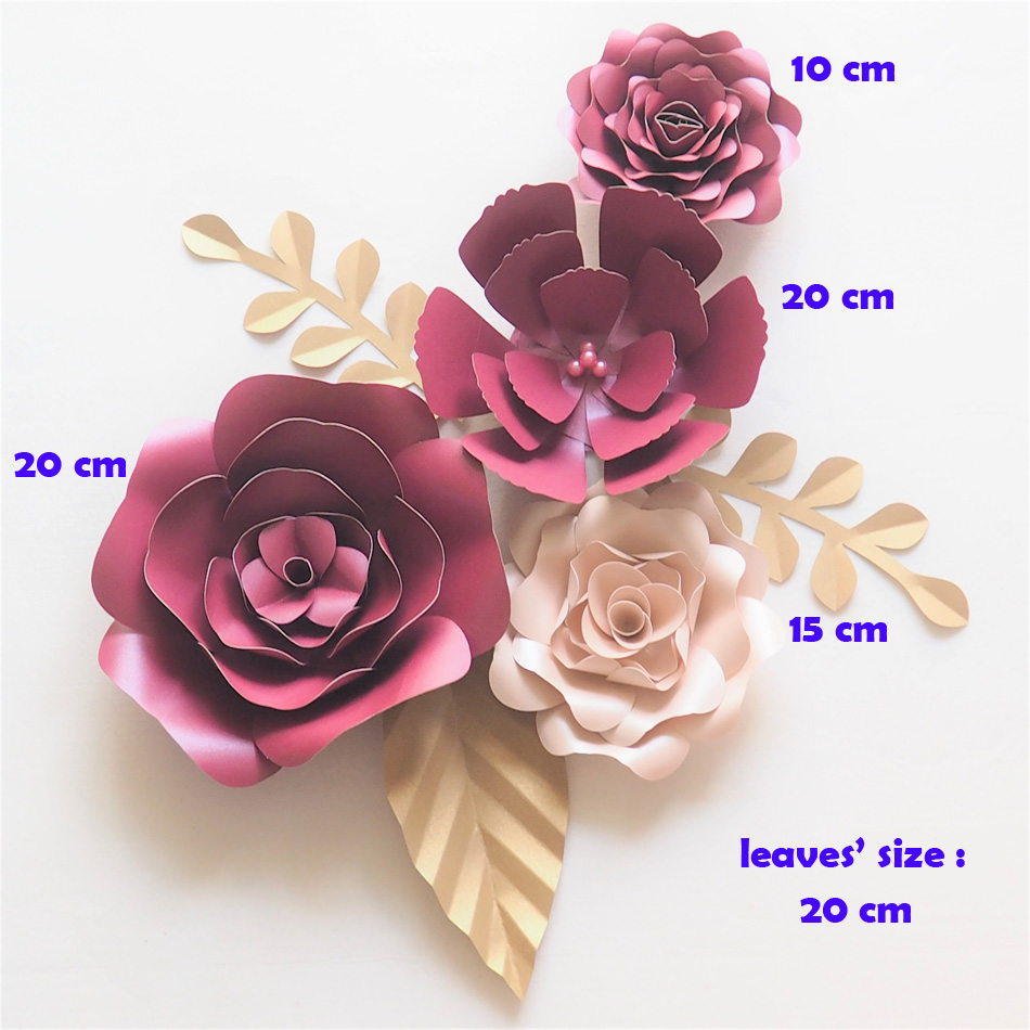 DIY Giant Paper Flowers Backdrop Artificial Handmade Paper Rose 4PCS+Leaves 3PCS Wedding & Party Deco Home Decoration Video