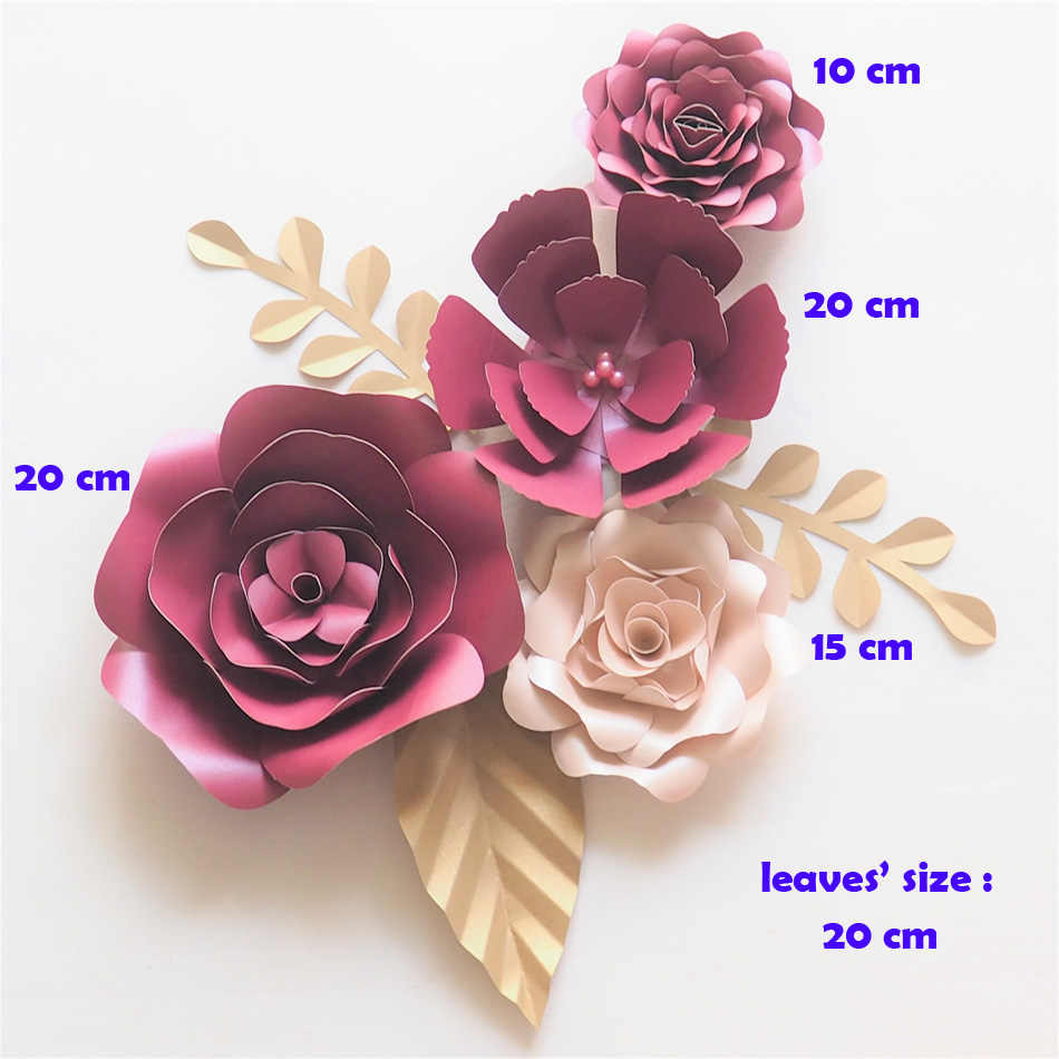 Diy Giant Paper Flowers Backdrop Artificial Handmade Paper Rose 4pcs Leaves 3pcs Wedding Party Deco Home Decoration Video