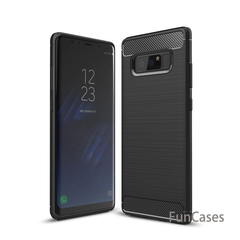 For Samsung Galaxy Note 7 8 9 Case Silicone Soft TPU Brushed Carbon Fiber Texture Cover For Galaxy Note FE N9300 Shell samsu g
