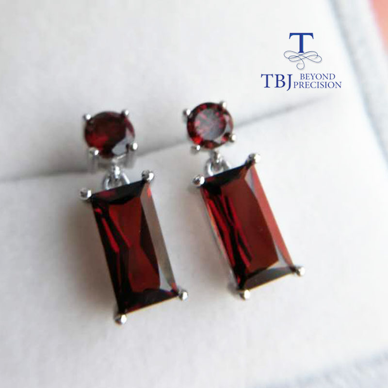 TBJ, Simple design earring Shinny Red garnet earring in 925 sterling silver gemstone earring in 925 sterling silver for ladys серьги 925 silver earring