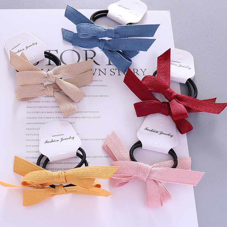 Free shipping baby pretty knot bow hair bands girl's ribbon rubber band kid's hair tie hair accessories korean style   headwear