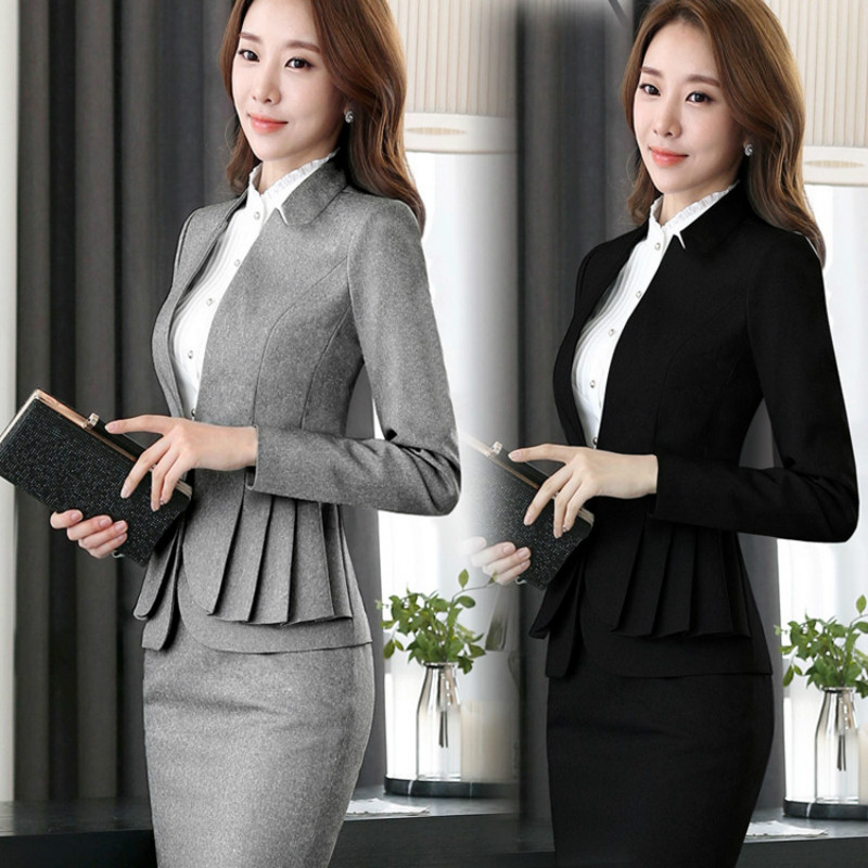 2019 Winter Formal Elegant Women's Blazers Work Suits Ladies Skirt Jackets Suit Set Office Lady Uniforms Business Plus Size 5XL