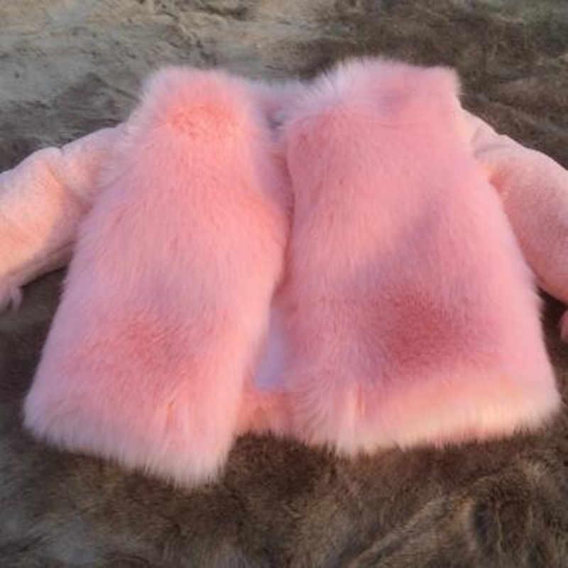 פו שועל פרווה מעיל 2019 תינוק סתיו חורף חזיית ילדים של בנות חיקוי פרווה ילד בגדי תינוקות נסיכת Parka N227