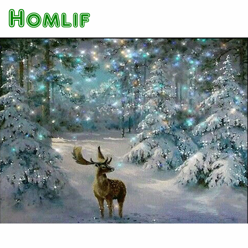 HOMLIF Era,Animal Deer Diamond Mosaic Handmade Snow Diamond Painting Cross Stitch Diamond Embroidery Patterns Rhinestones Arts
