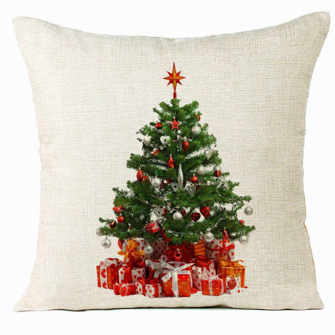 Christmas Tree Pillow Case Plant Pillow Cover Snowman Cushion Cover for Xmas Sofa Home Car Bed Decoration Pillowcase
