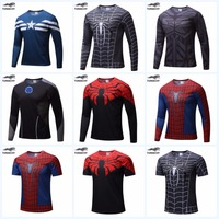Marvel Super Heroes Avenger Batman Sport T Shirt Men Compression Armour Base Layer Long Sleeve Thermal