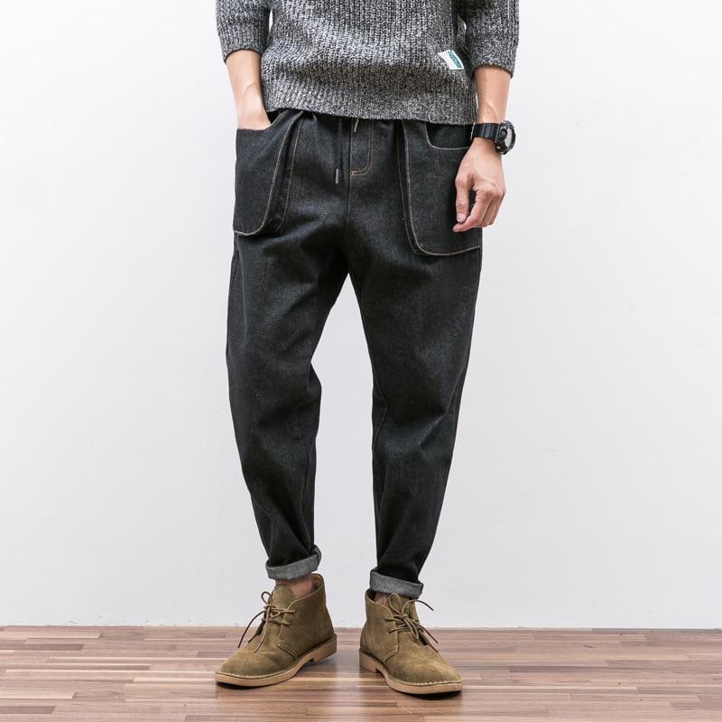 Design Japonais Ligne Corde Jeans Hommes de Pieds Et Facile À Restaurer La En Trois Dimensions Poche De Jeune Haren Pantalon