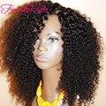 8A grado completo y suave rizado rizado U parte peluca del pelo virginal peruano parte lateral U parte pelucas de cabello humano negro Women Instock
