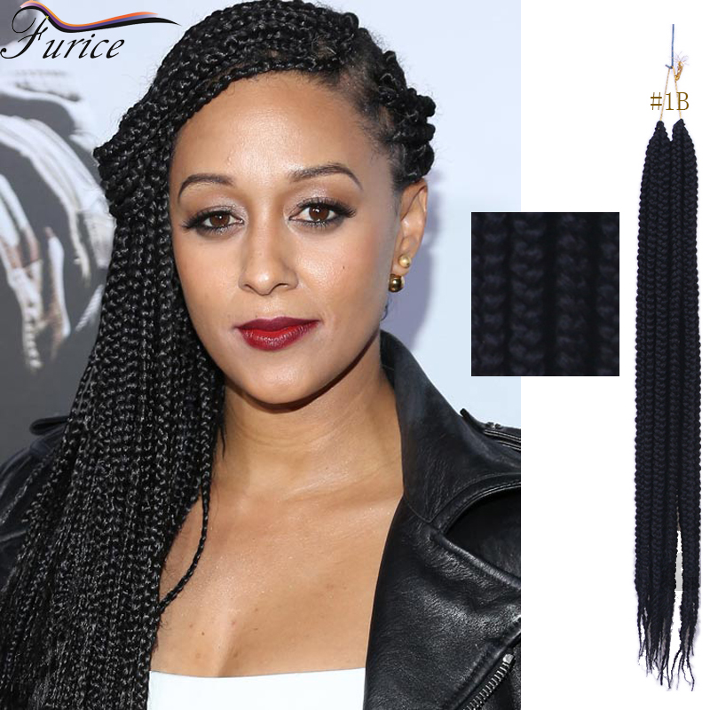 1b Blue African Ombre Box Braids Hairstyle Extension 3s