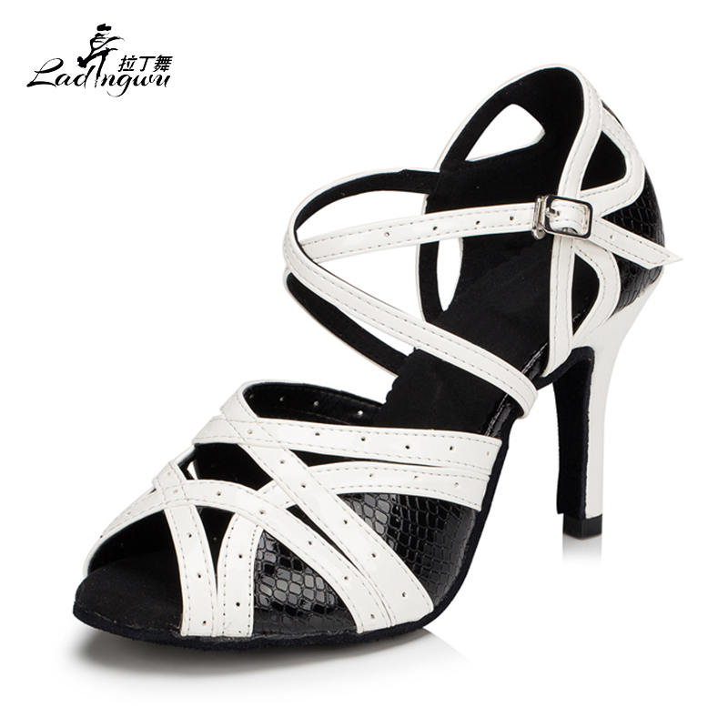 Ladingwu Hot Selling Spot Women's Latin Dance Shoes White/Black Shoes For Women Salsa Party Heel 6/7.5/8.5/10cm Size 35-44