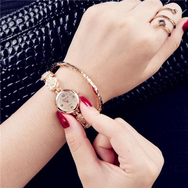 2017 Luxury Women Rose Gold Watches Women Crystal Bracelet Watch Business Quartz