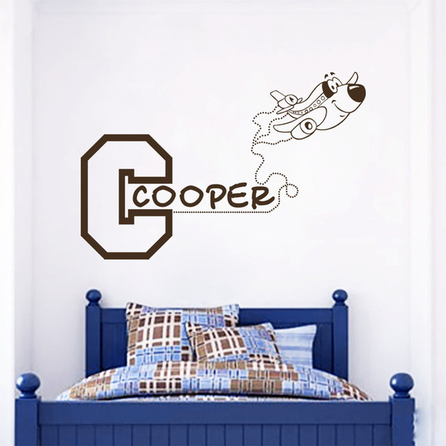Personalized Baby Name Wall Decal Vinyl Sticker   Kids Bedroom Wall Art  Decor   Airplane Wallpaper