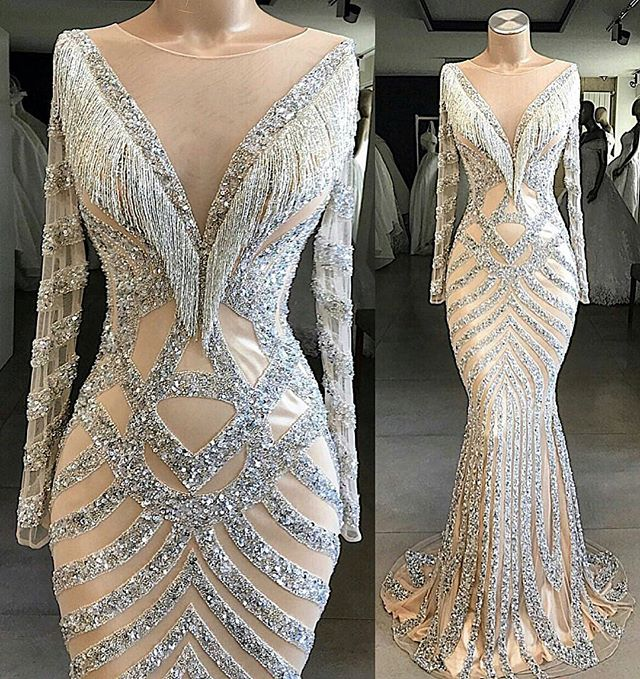 Fantastic New Mermaid   Evening     Dresses   2019 Scoop Long Sleeves Floor Length Beading Tulle Prom Formal   Dresses   Robe de mariee