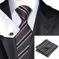 Sn-226 gris rosa negro lazo rayado conjuntos gemelos del pañuelo de hombre 100% corbatas de seda lazos para hombre Formal banquete de boda del novio