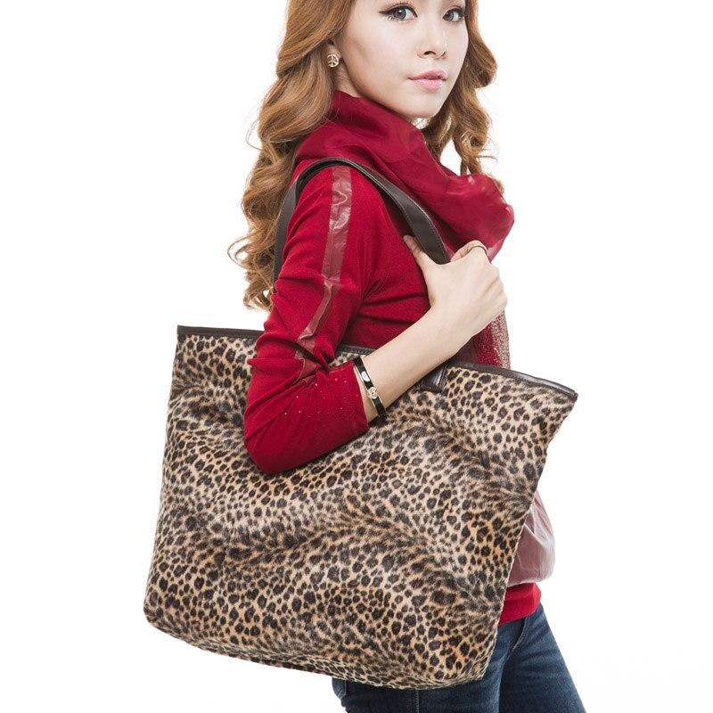 2018 האופנה Leopard נשים קיבולת גדולה שקיות שקיות קניות מקרית שקיות כתף נשים תיקי נשות Feminina S184