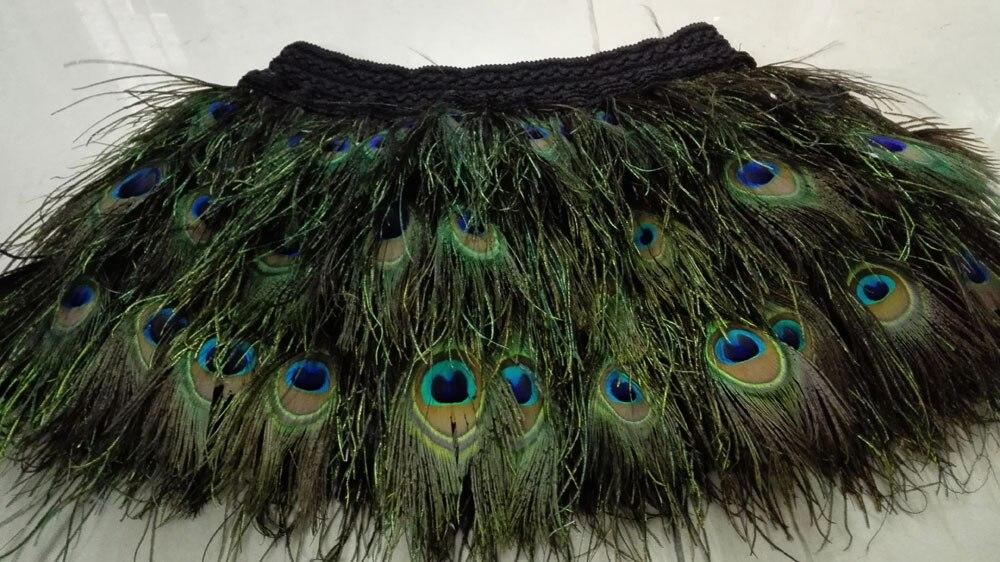 13 78 35cm peacock feather mini skirt with wide elastic waistband SKT16013