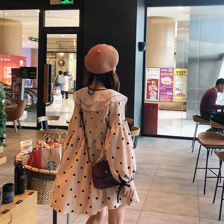 Couches Filles Femmes Col Mode Automne bleu Robe À Coréen Peter Printemps Beige Pan Pour jaune Doux Streetwear 2019 Cœur Style wEqaxnY650
