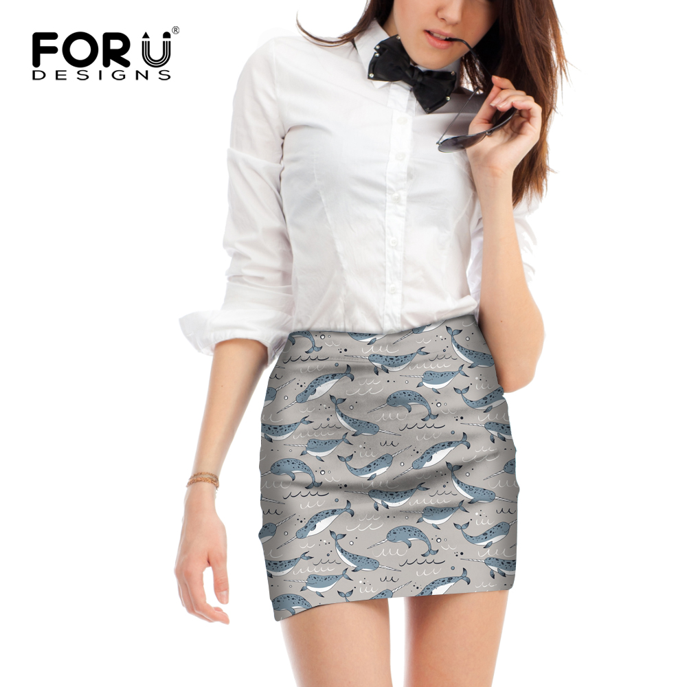 FORUDESIGNS Grey Print Animal Narwhal Short Skirt Mini Pencil Skirt for Women Personalized Female Ladies Summer Bodycon Skirts