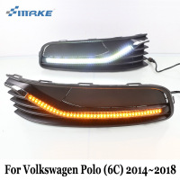 SMRKE DRL For Volkswagen Polo (6C) 2014~2018 / Car LED Daytime Running Light / Yellow Cornering Lamp Car Styling Fog Lamp Frame