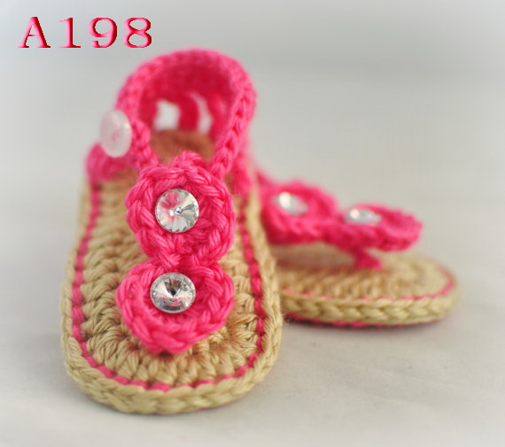 b2a2839de Free shipping Hand-woven Baby Crochet Shoes Baby girl Flip Flops Infant Red  Sandals Size 0-12M