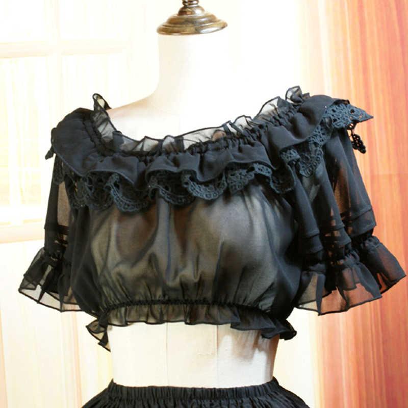 Mùa hè Nữ Thường Áo Sơ Mi Ngắn Lady Vintage Gothic Ren Voan Áo Lolita Đáy Áo Sơ Mi Tops Halloween Áo